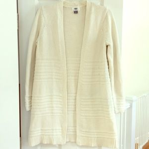 White Long Cardigan with Ribbed Detailing